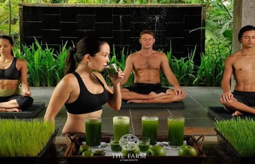 yoga with wheatgrass drink